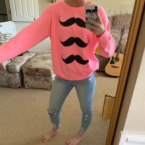 Hot Pink Mustache Sweatshirt